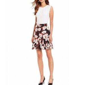 Karl Lagerfeld Floral Pleated Flounce Skirt